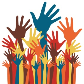 Large group of happy hands vector.